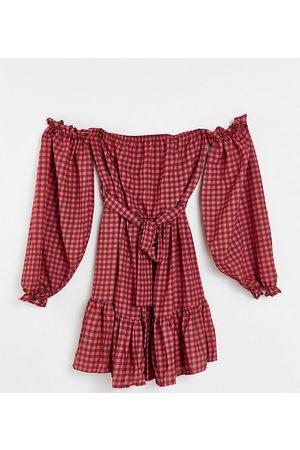 John Zack Petite Off shoulder long sleeve mini dress in taupe check print-Multi