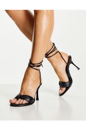 Topshop Rebel High Padded Leather Sandal in Black