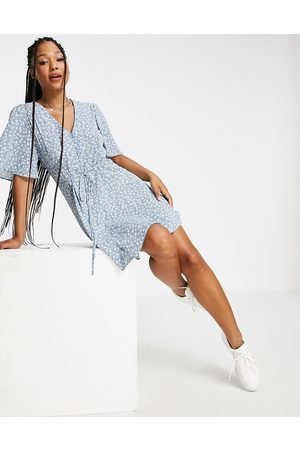 ASOS DESIGN Button through tie back mini tea dress with angel sleeve in duck egg floral print-Multi