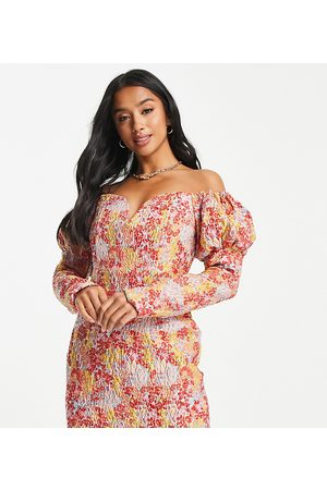 Collective The Label Petite Puff long sleeve mini dress in metallic rose floral-Multi