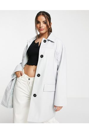 ASOS DESIGN Oversized faux leather shacket in light blue-Green