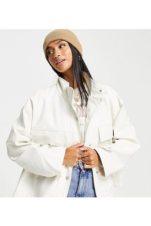 ASOS Petite chuck on faux leather jacket in white