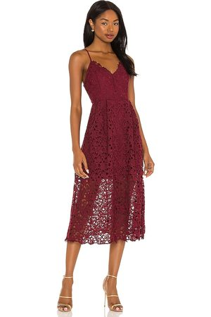 ASTR the Label Lace A Line Midi Dress in - Burgundy. Size L (also in M, S, XS).