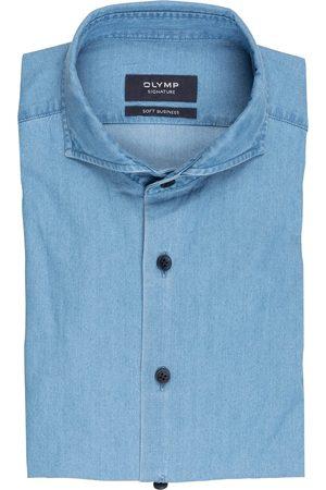 OLYMP SIGNATURE Herren Business - Hemd Tailored Fit In Jeansoptik blau