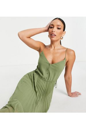 ASOS Tall ASOS DESIGN Tall button front pleated cami midi dress with drawstring waist in khaki-Green
