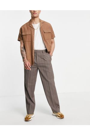 ASOS DESIGN Wide leg smart trouser in wide leg prince of wales check-Brown