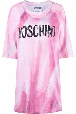 Moschino Brushstroke logo-print T-shirt dress