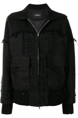 Goen.J Damen Sommerjacken - Frayed tweed patchwork bomber jacket