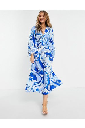John Zack Exclusive plunge front tiered ruffle maxi dress in multi blue swirl print