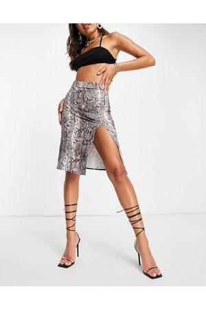 I saw it first Damen Bedruckte Röcke - Midi skirt in snake print-Multi