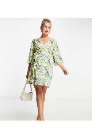 ASOS ASOS DESIGN maternity wrap belted cover up in snake print-Multi