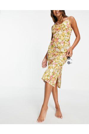ASOS Cowl midi slip low back beach dress in retro floral print-Multi