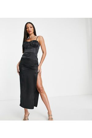 Flounce London Damen Midikleider - Satin midi dress with ruched cup detail in black
