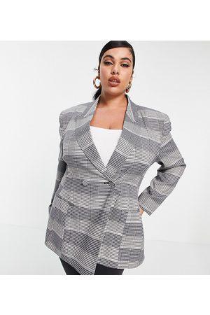 ASOS Damen Blazer & Sakkos - ASOS DESIGN Curve premium moulded hip suit blazer in check-Multi