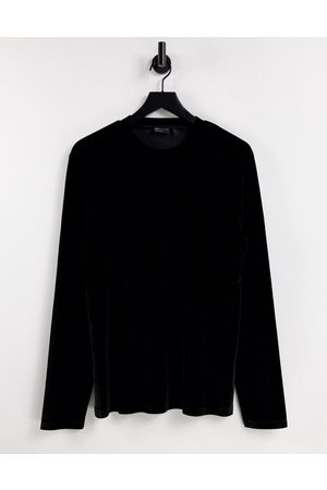 ASOS DESIGN Long sleeve t-shirt in black velour