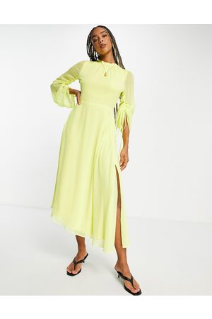 Topshop Damen Midikleider - Tosphop long sleeve open back midi in yellow