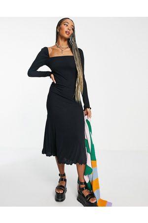Topshop Square neck jersey midi dress in black