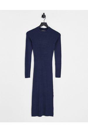 Threadbare Amethyst knitted midi dress in navy-Blue