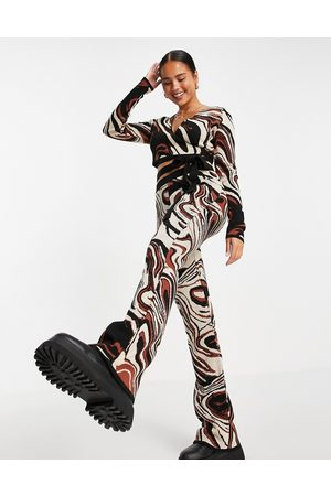 ASOS DESIGN Co-ord knitted flare trousers with marble pattern-Multi