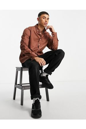 Brave Soul Long sleeve cotton twill shirt in brown