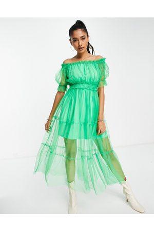 River Island Bardot mesh tiered midi dress in bright green