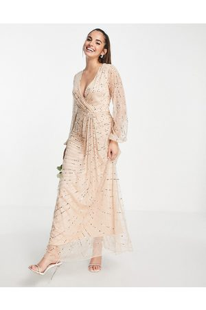 Frock And Frill Bridesmaids embellished maxi dress in pearl pink