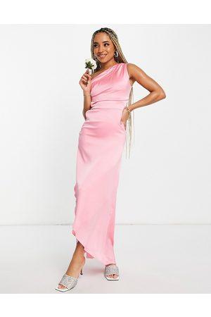 TFNC Bridesmaid one shoulder maxi dress in bubblegum pink