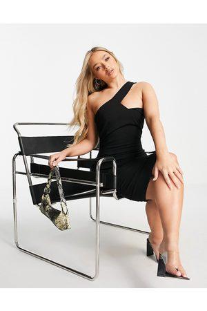 Vesper One shoulder structured midi dress in black