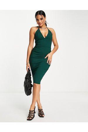 Vesper Plunge front midi dress in green
