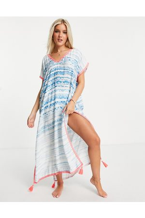 White Cabana Maxi dress in blue water colour print