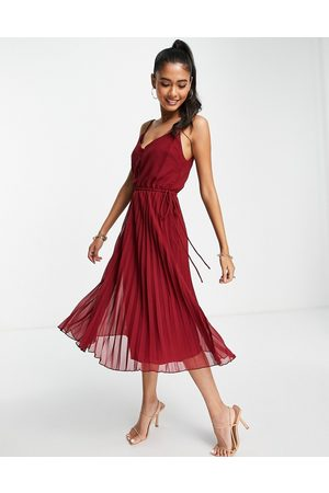 ASOS Button front pleated cami midi dress with drawstring waist in oxblood-Red