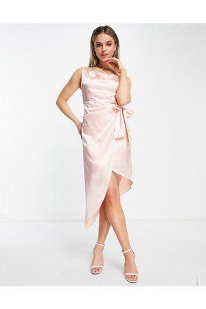 TFNC Satin wrap dress in pink