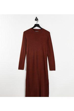 Threadbare Petite Damen Freizeitkleider - Amethyst knitted midi dress in chocolate brown