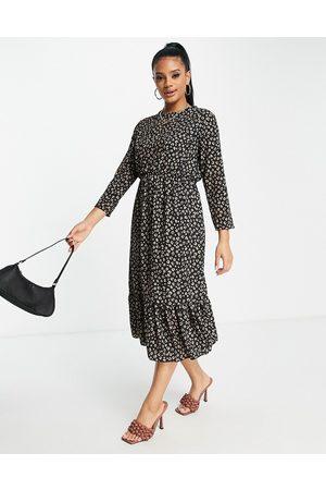 I saw it first Leopard print frill hem smock midi dress in black