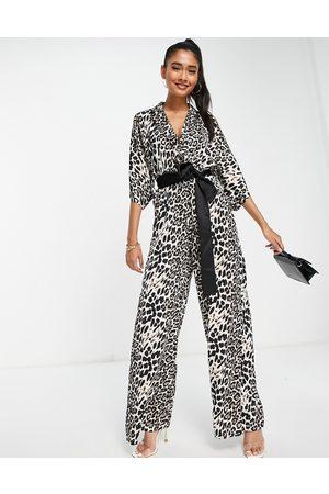 Unique 21 Kimono jumpsuit in leopard-Multi