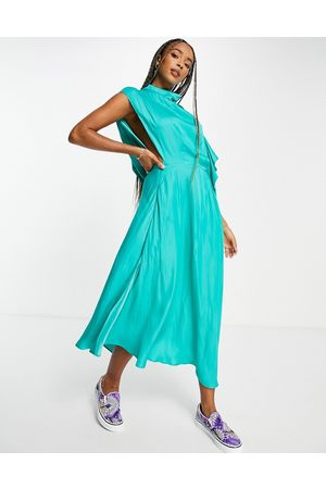 Topshop Premium ruffle cowl back occasion midi dress in teal-Green