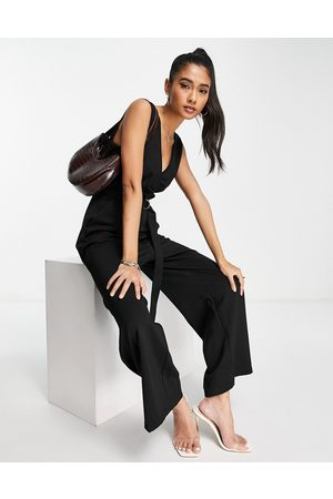 UNIQUE21 Sleeveless belted jumpsuit in black
