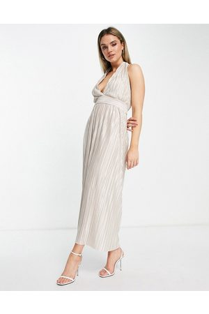 TFNC Pleated metallic midi dress in cream-White