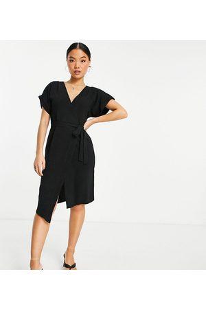 ASOS ASOS DESIGN Petite wrap midi dress in black