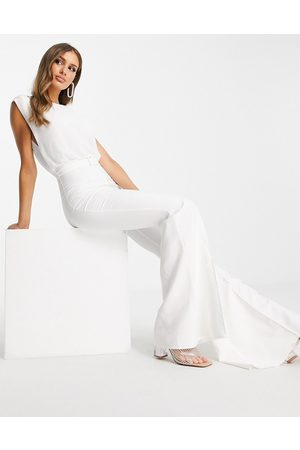 ASOS Chiffon top belted flared leg jumpsuit in white