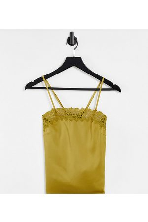 Y.A.S Recycled cami top with lace detail in khaki green