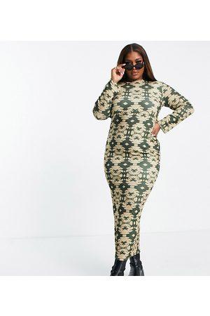PUBLIC Open back maxi dress in green-Multi