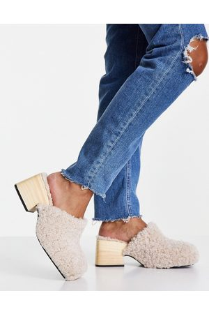 Topshop Raven shearling clog mules in cream-White