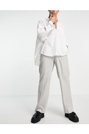 ASOS High waist wide leg wool mix suit trouser in ice grey twill