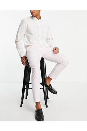 Moss Bros Moss London linen look trousers in pastle pink