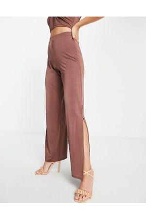 Miss Selfridge Side split wide leg trouser-Brown