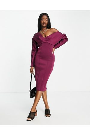 ASOS Fallen shoulder super seamed pencil skirt midi dress in berry-Multi