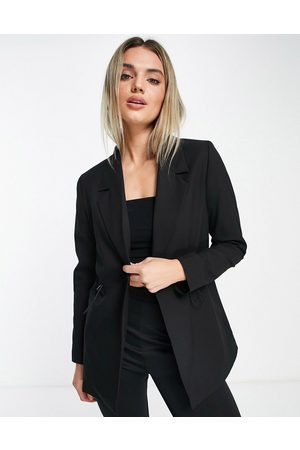 SELECTED Femme blazer with toggle waist detail in black