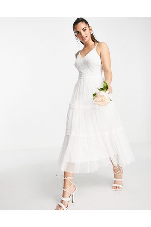 Frock And Frill Bridal cami midi dress in ivory-White