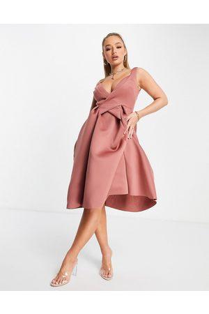 ASOS DESIGN Cami wrap pleated midi skater dress in rose-Pink